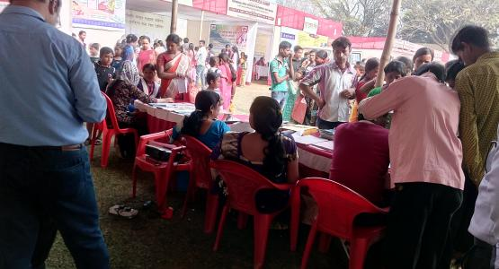 Citizens are in Q for services of Labour Directorate at Legal Service Camp ( Gandhigram)